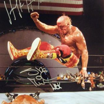 VONE05 Hulk Hogan & Shawn Michaels Signed Autographed Glossy 16x20 Photo (ASI COA)