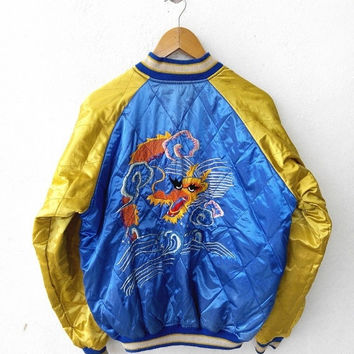 CRAZY SALE 25% SUKAJAN Japanese Tokyo Eagles Dragon Guam Vintage 80's Varsity Jacket Embroidery Souvenir Zipper Satin Reversible Gold Blue J