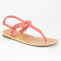 City Classified Friday Womens T-Strap Sandals Coral  In Sizes