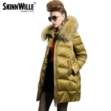 Luxury female medium-long down coat fashion winter thickening loose outerwear