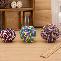 Rope Ball Toys Bite Ball Colorful Squeaking Dog Toy