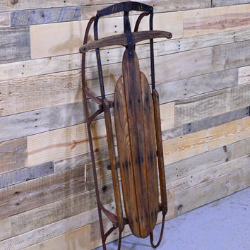 Vintage Wood Sled, Holiday Sled Decor, Old Wood Childrens Sled