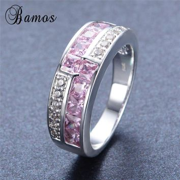 Bamos Elegant Pink Birthstone Rings for Women Fashion 925 Sterling Silver Filled Cubic Zirconia Ring Wedding Jewelry Gift RS0016