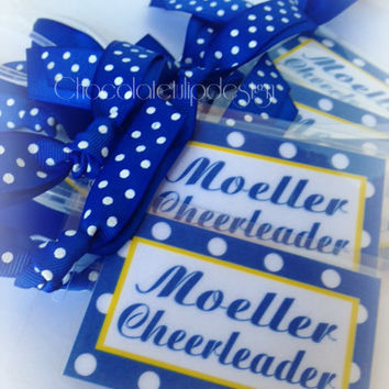 Luggage Bag Tag Blue & White Polka Dot for CHEER or POM Personalized and Custom by Chocolatetulipdesign