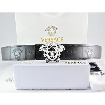 Versace Men Fashion Buckle Belt Leather Belt