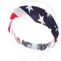 American Flag Headband Red White and Blue  July 4th  Hair Turband - By PiYOYO