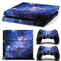 Galaxy Star Vinyl Skin Sticker Cover For Sony PS4 Console with 2 Controllers Decal For Playstation 4 For Dualshock 4 Gamepad