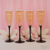 Personalized Black-Tie Champagne Flute with Engraved Bridal Party Monogram Design Options & Font Selection ( Each - 5 3/4 oz. Flutes)