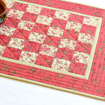 Quilted Table Runner, Pink Floral Table Topper, Summer Table Quilt, Reversible, Quiltsy Handmade