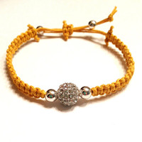 Lemon Yellow Citrus Macramé SilverRhinestone Pave Beaded Bracelet Arm Candy Jewelry Stackable Dollar Shipping Party