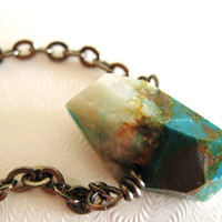 Ocean Necklace Teal Chrysocolla Raw Nugget wire wrapped by Vitrine