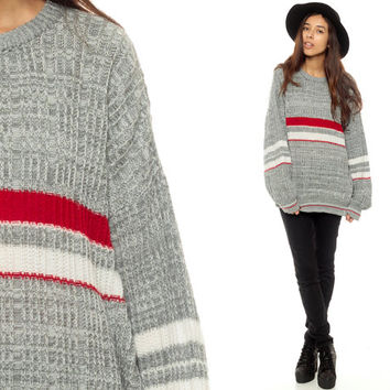 Grunge Sweater 80s STRIPED Grey Red Knit Slouchy Oversize Horizontal Stripes Blue 90s Vintage Oversized Retro Men Heather Gray Small Medium