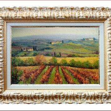 Italian painting Tuscany landscape n 10 vineyard of Bruno Chirici original oil Italia Italy Toscana + frame