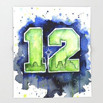 "12th Man Seahawks Seattle Go Hawks Art Throw Blankets 88"" x 104"" Blanket"