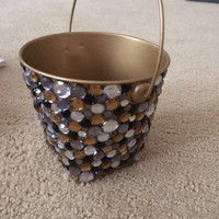 Gold Rhinestone Pencil/Pen Holder