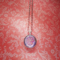 Gold snowflake glass dome necklace for tween or teen girl
