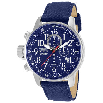 Invicta 11521 Men's I Force Lefty Blue Dial Blue Canvas and Leather Strap Chronograph Stainless Steel Watch