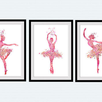 Ballerina print Set of 3 posters Ballerina watercolor Ballet studio decor Home decoration Gift idea Kids room decor Ballet art poster S23