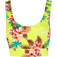 River Island Womens Yellow Hawaiian print bralet