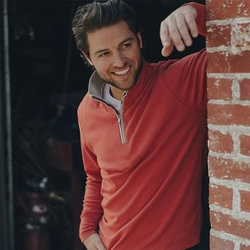 Puremeso Quarter Zip Pullover in Rust by The Normal Brand