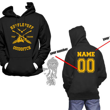 CHASER - Custom back, Hufflepuff Quidditch team Chaser Yellow print printed on Black Hoodie