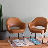Saarinen Executive Arm Chairs Vintage Pair Tobacco by castandcrew