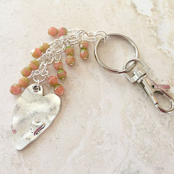 Beaded Keychain - Heart Charm Keychain - Silver Purse Swivel Clip Jewelry - Silver Heart Keychain - Handbag Keychain - Womens Car Accessory
