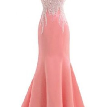 Gorgeous Bridal Satin Beaded Elegant Formal Prom Gown Evening Gown with Bowknot- US Size 14