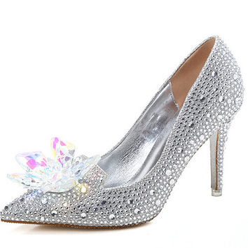 9.5CM High Heeled Thin Heel Pumps Crystal Rhinestone Pointed Toe Wedding Shoes Stiletto Cinderella Crystal Shoes C-721