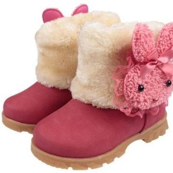 CREYUG3 Baby Girls Infant Toddler Winter Fur Shoes Snow Boots rabbit for 9-30 months baby [XH] = 1932712004