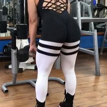 New Black-White Striped Cross Back High Waisted Stretch One Piece Yoga Sports Long Jumpsuit