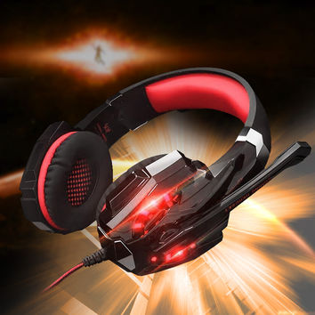 KOTION EACH G9000 3.5mm Glaring LED Light Gaming Headset  Mic for Laptop   Phones   PS4 - Red  Black