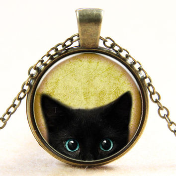 New Arrival Jewelry Gift Shiny Stylish Vintage Cats Gemstone Fashion Glass Pendant Necklace [4918792772]