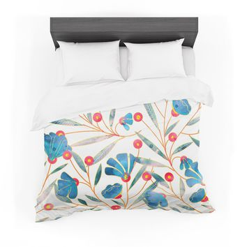 "83 Oranges ""Bluebella"" Blue White Nature Floral Illustration Watercolor Featherweight Duvet Cover"