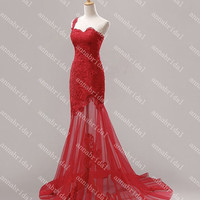 Lace Sheer Evening Dresses One-shoulder Sweetheart Mermaid Women Formal 2014 Prom Corset Gowns Tulle Red/Black Gorgeous Cheap Custom Made