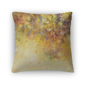 Throw Pillow, Abstract Watercolor Painting White Flowers And Soft Color Leavesyellowbrown