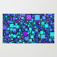 Post It Blue Rug by Alice Gosling