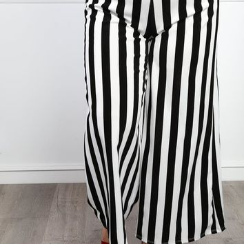 Feel Right Plus Size Striped Pants Bottoms+ GS-LOVE