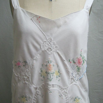 "Vintage 90s Boho Cotton HANDKERCHIEF COLLAGE DRESS Summer Wedding Sundress Bust"" 40"""