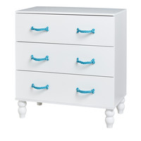 Cord - Commode with 3 drawers, blue paracord handles, white lacquered, solid wood feet, including more paracord and instruction for plat