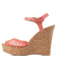 Coral Lace Platform Wedge Sandals by Charlotte Russe