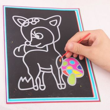 2017 2 IN 1 Magic Color Education Scratch Art Paper Coloring Cards Scraping Drawing Toys 9.4*12.9cm 20 Pcs