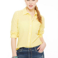 Gingham Button Down Shirt - Yellow