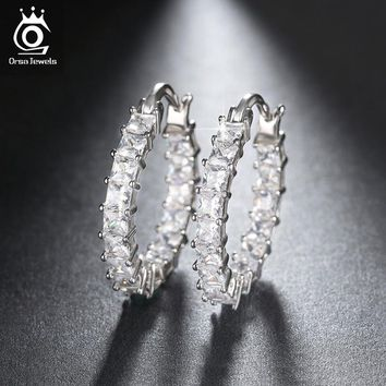ORSA JEWELS Fashion Ladies Loop Earring Round-Shape with 0.1ct Brilliant Austrian Cubic Zirconia Hoop Earrings for Women OE144