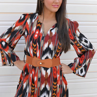 All About You Rust Aztec Tunic Dress