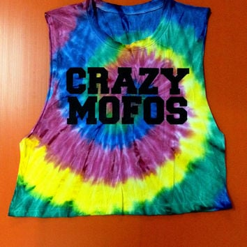 Crazy Mofos tank crop tye dye tie dye tShirt Niall Shirts One Direction 1D Shirt Tank Top Women