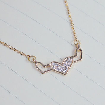 Tiny 3 Heart Necklace,Rose Gold Shinning Heart Charm Necklace,Dainty Necklace,Rose Gold Necklace,Heart Necklace