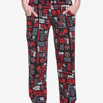 Marvel Deadpool Logos Guys Pajama Pants