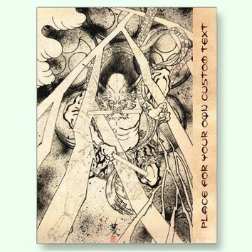 Cool classic vintage japanese demon ink tattoo post card from Zazzle.com