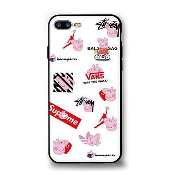 Champion X Supreme X Vans Fashion Peppa Pig Multiple Brands Print iPhone 6 plus Cute iPhone X Protective iPhone Lovers Phone Case Soft Shell